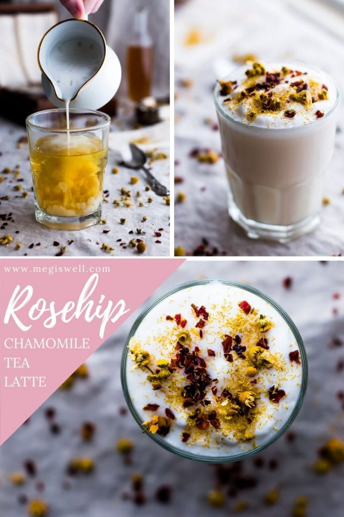 This Rosehip Chamomile Tea Latte is a floral and herbal twist on the London Fog. It's meant to soothe and calm the body and mind, making it perfect for dreary weather snuggle time! | Soothing Drinks | Before Bed | Sleepy Time Tea Latte | www.megiswell.com