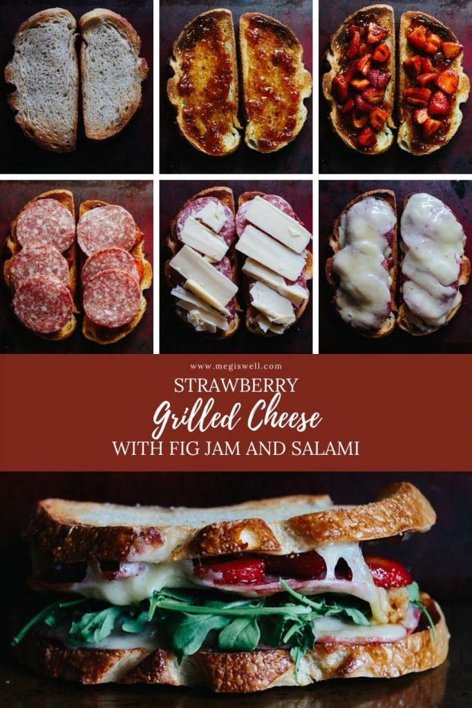 Strawberry Grilled Cheese is sweet and savory perfection with fig jam, balsamic soaked strawberries, salami, aged white cheddar, and arugula. Easy Gourmet Sandwich | In the oven | How to Make | #grilledcheese #sandwich #strawberries #figjam | www.megiswell.com