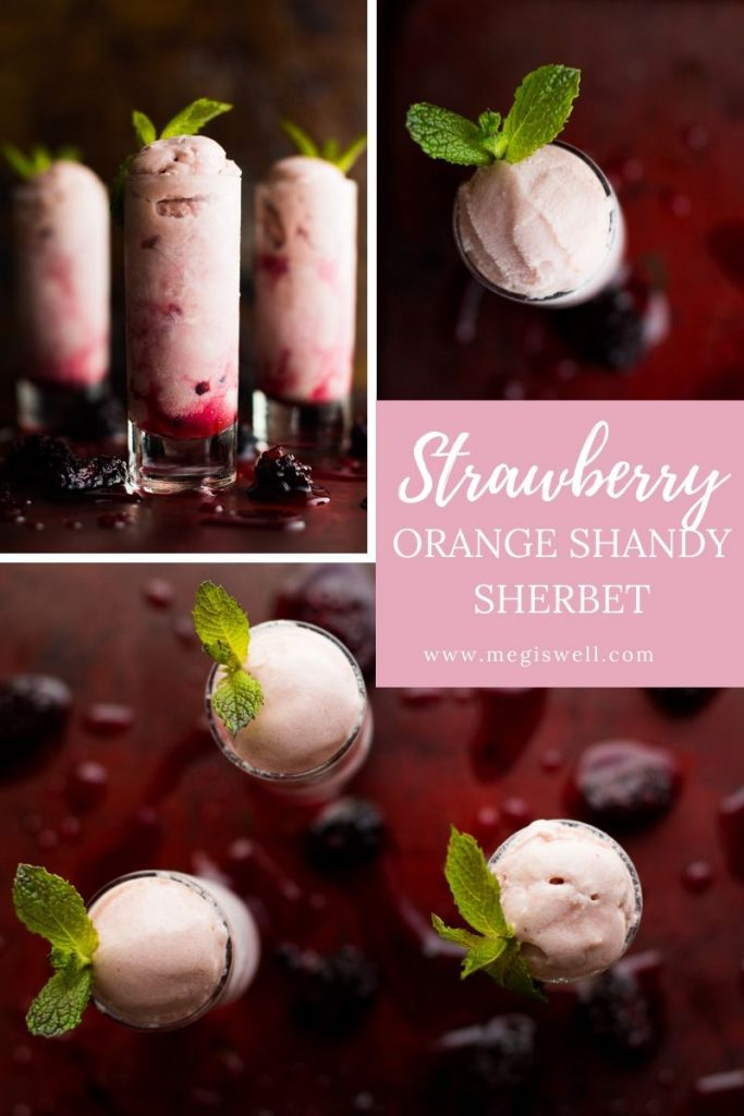 Strawberry Orange Shandy Sherbet combines a shandy beer punch, fresh fruit, and sweetened condensed milk for a great summertime icy treat. | Shandy Recipe | Ice Cream Maker | Party Punch | Sweetened Condensed Milk Recipes | #leftovers #leftoverrecipes | www.megiswell.com