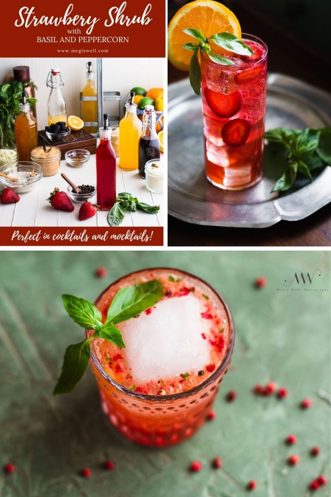 This Strawberry Shrub with Basil and Peppercorn is sweet and tart with a subtle heat perfect for mixing into any spring and summer cocktails and mocktails! | Shrub Recipe | How to Make | DIY | Drinks | #mocktailrecipe #cocktailrecipe #megiswel | www.megiswell.com