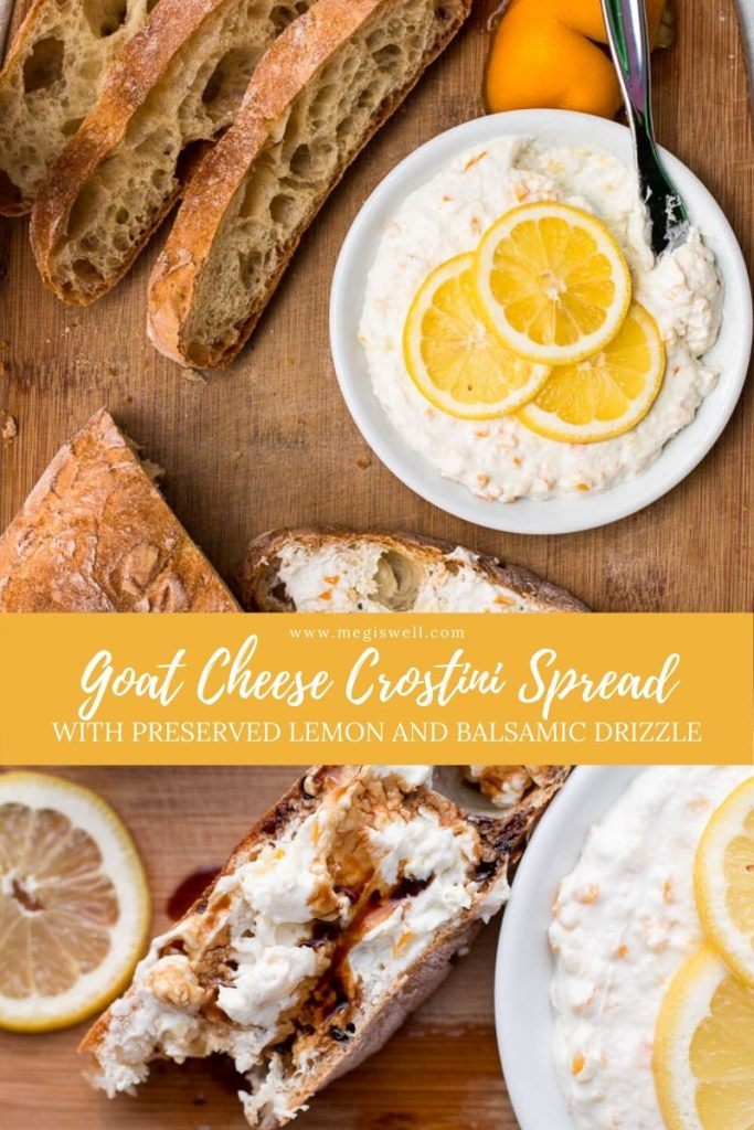 Goat Cheese Crostini Spread with Preserved Lemon and Balsamic Drizzle looks and sounds impressive but is a quick and easy appetizer that is perfect for spring or summer picnics. | Preserved Lemon Recipe | What to do with preserved lemon | #preservedlemon #crostini | www.megiswell.com