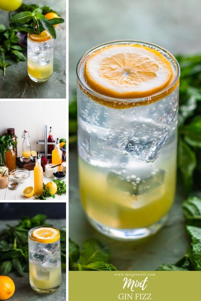 This Mint Gin Fizz gets it aromatic zing from muddled mint and a Lemon Shrub with Cardamom and Mint. It's refreshing, fizzy, and cooling, perfect for hot spring or summer days! | Gin Bar | DIY | Cocktail Recipe | #ginfizz #shrubcocktail #megiswell | www.megiswell.com