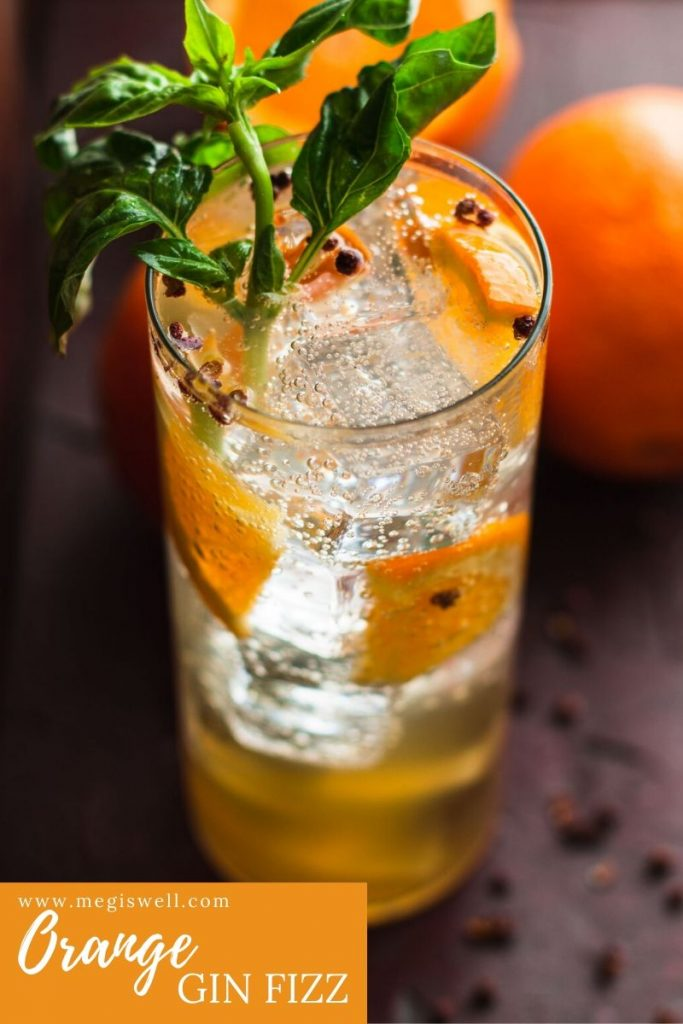 This Orange Gin Fizz has a dreamy orange sweetness that is spiked with a slightly citrus & pepper undertow and malty richness. Gin Bar | DIY | Cocktail Recipe | #ginfizz #shrubcocktail #megiswell | www.megiswell.com