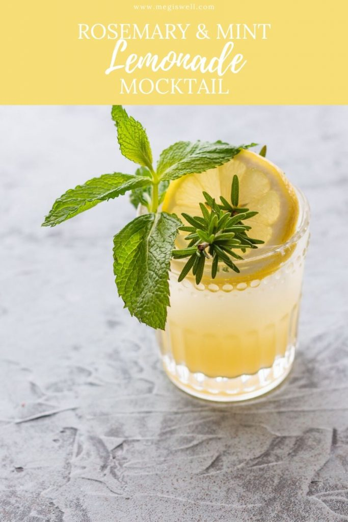 This Rosemary & Mint Lemonade Mocktail has a resinous and pine taste that is very gin-like, making it a great gin mocktail. | Non Alcoholic | Summer Drinks | Shrub Mocktail | #mocktail #mocktailrecipe | www.megiswell.com