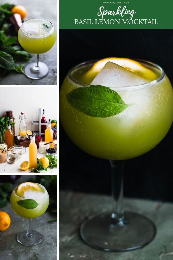 This Sparkling Basil Lemon Mocktail has flavors of basil, cardamom, lemon, and mint that will leave you with a fresh sparkle. | Non Alcoholic | Summer Drinks | Shrub Mocktail | #mocktail #mocktailrecipe | www.megiswell.com