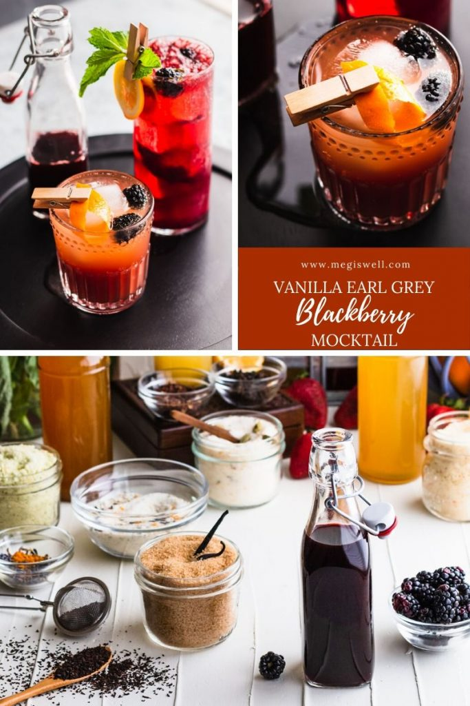 This Vanilla Earl Grey Blackberry Mocktail has delicious currents of vanilla, orange, bergamot, and blackberry and is the perfect mocktail for tea lovers! | Non Alcoholic | Summer Drinks | Shrub Mocktail | #mocktail #mocktailrecipe #megiswell | www.megiswell.com