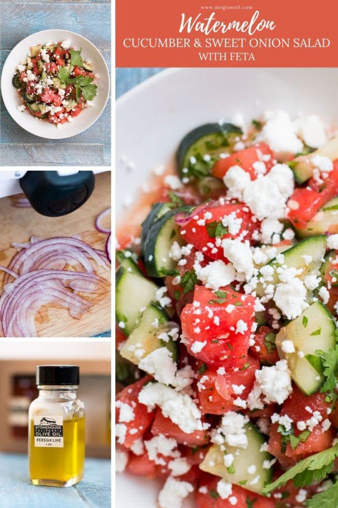 This Watermelon, Cucumber, and Sweet Onion Salad with Feta is the perfect refreshing side for a hot summer day. No oven required! | Lime Juice | Cilantro | Vegetarian | Healthy Summer Recipe | #watermeloncucumbersalad | www.megiswell.com