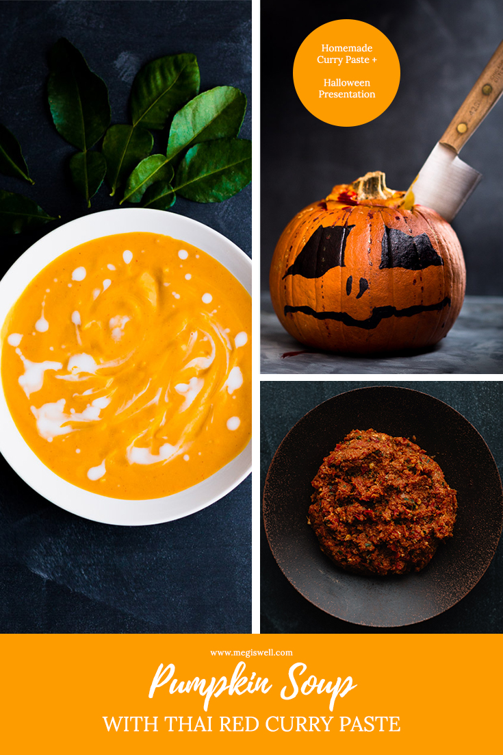 This Pumpkin Soup with Thai Red Curry Paste is spicy with a subtle sweetness emphasized by Thai lime leaves and creamy coconut milk. | Spooky Halloween Presentation | Recipes with Curry Paste | Fall Soup Recipes | #Halloween #pumpkin #currypaste #redcurrypaste #spicysoup | www.megiswell.com