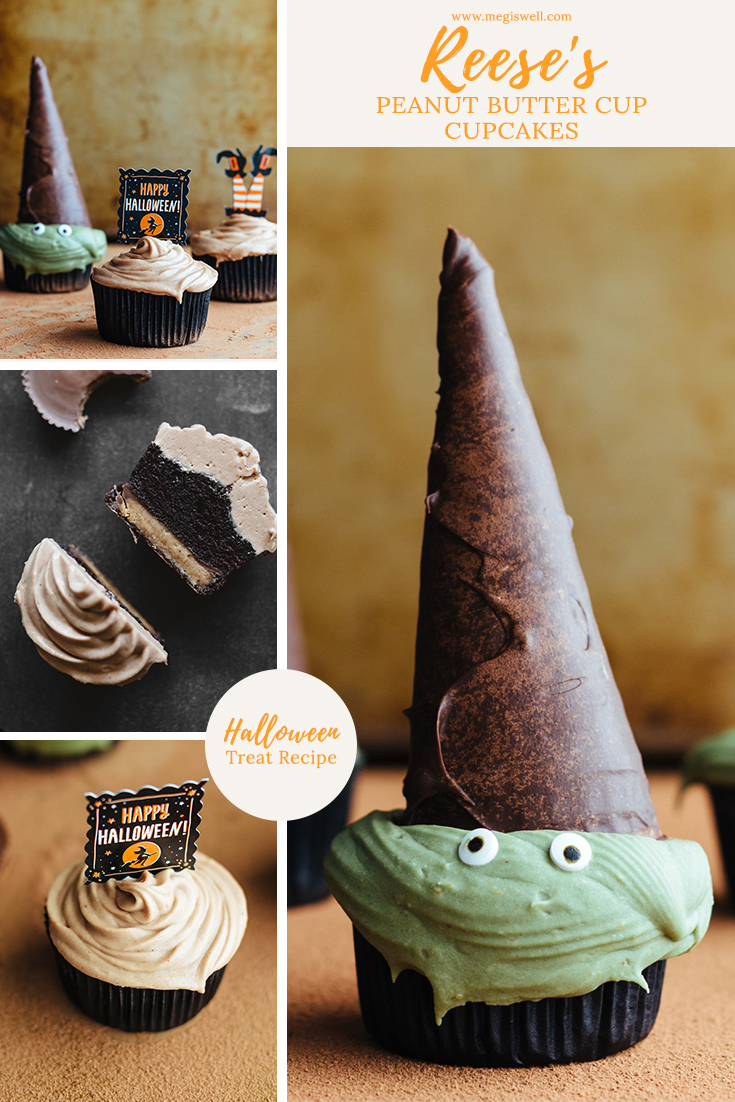 These chocolate Reese's Peanut Butter Cup Cupcakes have a secret peanut butter cup treat at the bottom and Reese's frosting. Decorated like witches, they are the perfect Halloween trick AND treat. #halloween #halloweencupcakes #halloweendessert #halloweenrecipe #partyrecipes #peanutbutter #chocolatecupcakes #reesescupcakes | www.megiswell.com