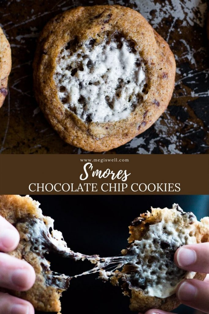 These S'mores Chocolate Chip Cookies use browned honey butter, turbinado and brown sugar, melted and toasted marshmallows, and chocolate for a campfire twist on the classic chocolate chip. It's an excellent recipe to use with old marshmallows and leftover chocolate all year long! | #smorecookies #cookies #chocolatechipcookies #marshmallowrecipes #summercookie | www.megiswell.com