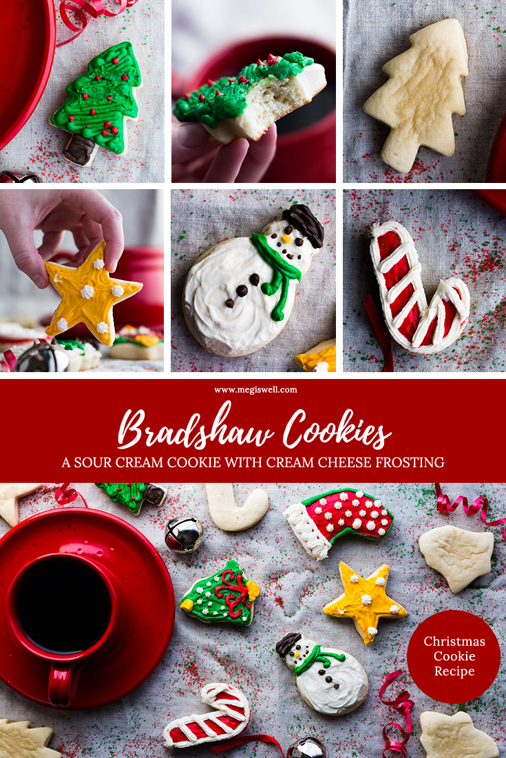 Bradshaw Cookies are a type of sour cream cookie with cream cheese frosting. Soft, pillowy, and not very sweet, they are perfect for cutting out into seasonal shapes and decorating with frosting. | Sour Cream Cookie Recipe | Cut Out Cookies | Christmas Cookie Recipe | Holidays | #christmasrecipe #christmascookierecipe #holidayrecipe  www.megiswell.com