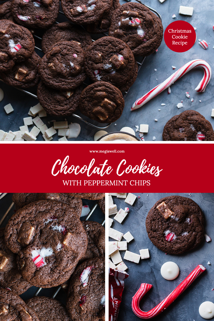 Chocolate Cookies with Peppermint Chips are the perfect addition to any Christmas cookie gifts you hand out, but only if you can stop eating them. | Chocolate Peppermint Cookies | Candy Canes | Christmas Cookie Recipe | Christmas | Holidays | #christmascookierecipe #christmasrecipe #holidayrecipe | www.megiswell.com