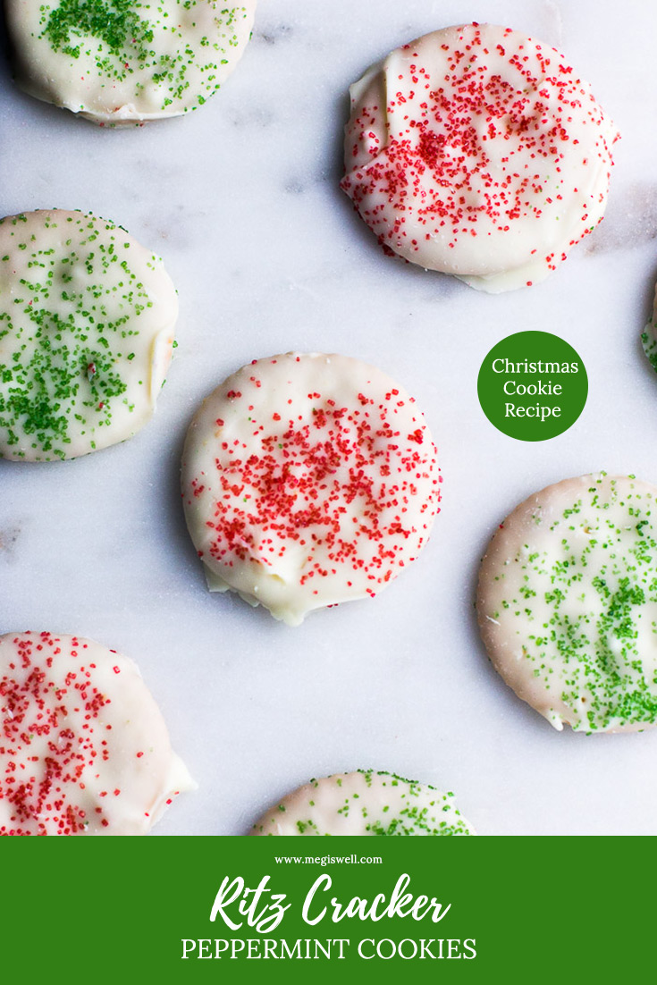 Cool fresh mint, hardened and creamy white chocolate, and a crisp and salty Ritz Cracker all combine in one bite in these Ritz Cracker Peppermint Cookies, an easy no bake holiday freezer dessert. | Mint Ritz Cracker Cookies | White Chocolate Ritz Cracker Cookies | Christmas Cookie Recipe | Christmas | Holidays | #christmascookierecipe #christmasrecipe #holidayrecipe | www.megiswell.com