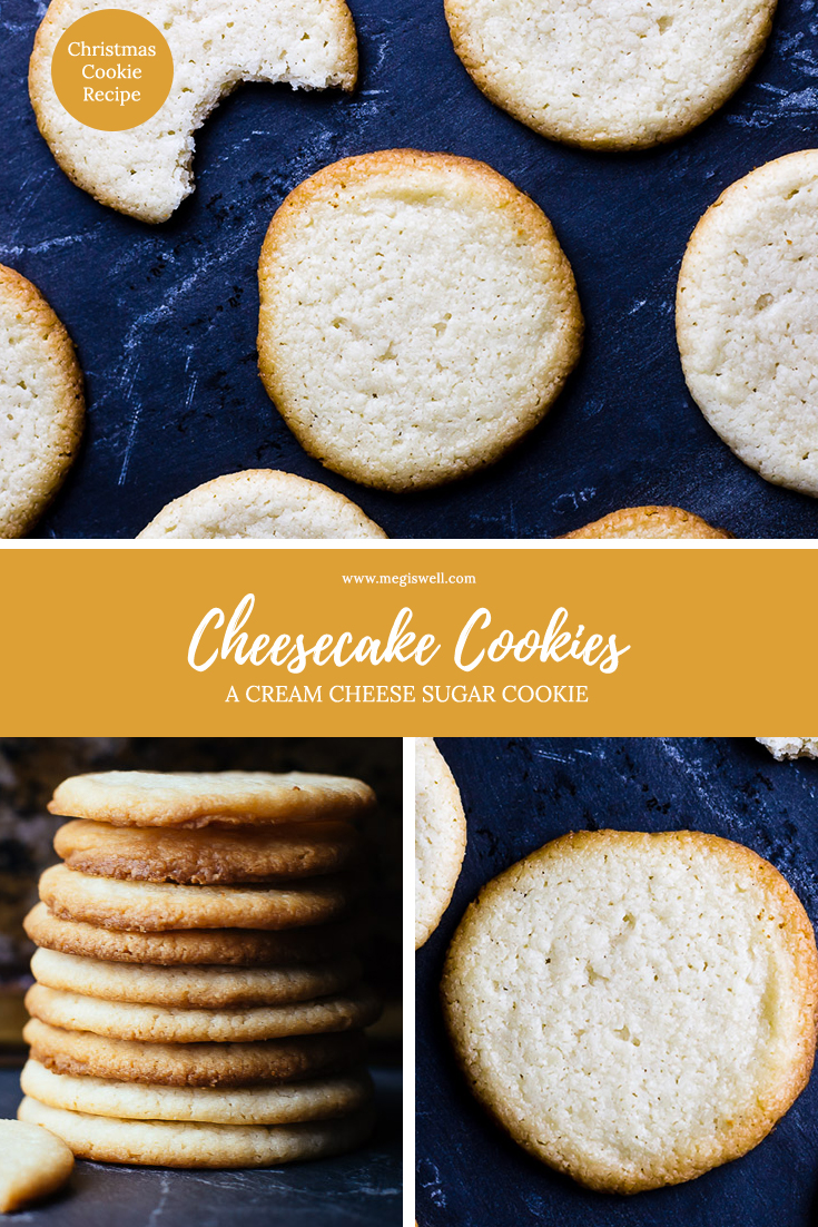 These Cheesecake Cookies have a slight tang to them, are buttery, thin, and rich - just like cheesecake! | Cream Cheese Cookie Recipe | Sugar Cookies | Butter Cookies | Christmas Cookie Recipe | Holidays | #christmasrecipe #christmascookierecipe #holidayrecipe | www.megiswell.com