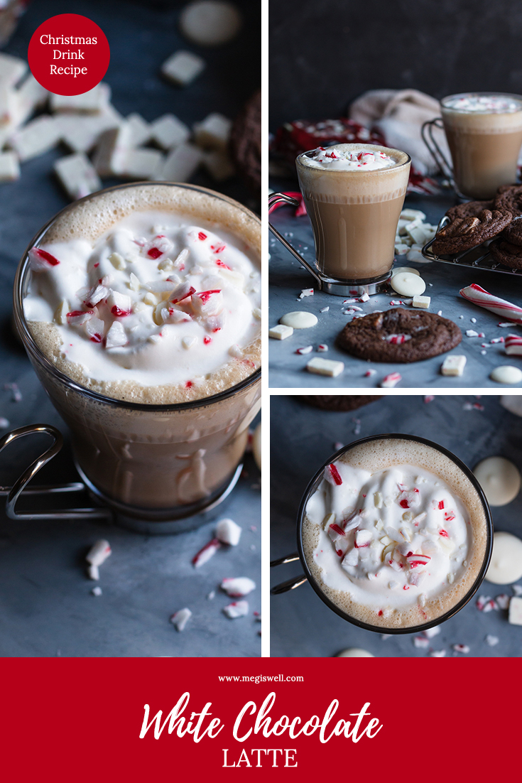 This White Chocolate Latte is perfect to sip on during the holidays in your comfy Christmas socks. | Peppermint | Candy Canes | Christmas | Holidays | #christmasrecipe #christmasdrinkrecipe #holidayrecipe | www.megiswell.com